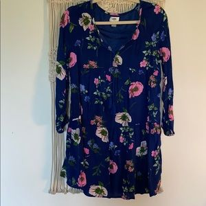 Blue and pink floral dress SZ S